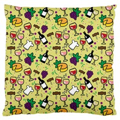 Wine Cheede Fruit Purple Yellow Large Cushion Case (Two Sides)
