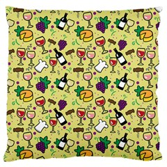 Wine Cheede Fruit Purple Yellow Large Flano Cushion Case (Two Sides)
