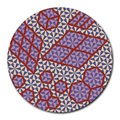 Triangle Plaid Circle Purple Grey Red Round Mousepads