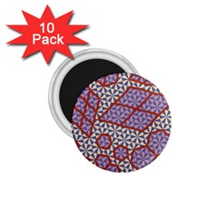 Triangle Plaid Circle Purple Grey Red 1.75  Magnets (10 pack)