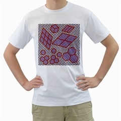 Triangle Plaid Circle Purple Grey Red Men s T Shirt (white) (two Sided)