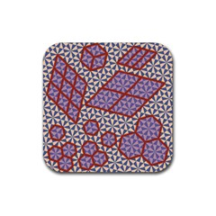 Triangle Plaid Circle Purple Grey Red Rubber Square Coaster (4 pack)