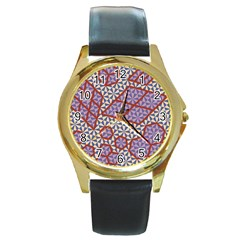 Triangle Plaid Circle Purple Grey Red Round Gold Metal Watch