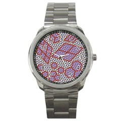 Triangle Plaid Circle Purple Grey Red Sport Metal Watch