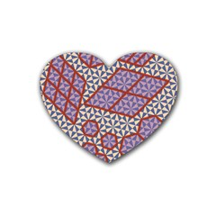 Triangle Plaid Circle Purple Grey Red Heart Coaster (4 pack)