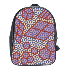 Triangle Plaid Circle Purple Grey Red School Bags(Large)