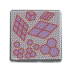 Triangle Plaid Circle Purple Grey Red Memory Card Reader (square)