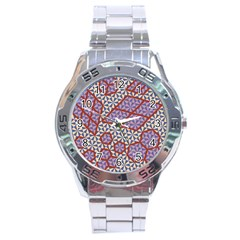 Triangle Plaid Circle Purple Grey Red Stainless Steel Analogue Watch