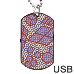 Triangle Plaid Circle Purple Grey Red Dog Tag USB Flash (Two Sides)