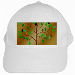Tree Root Leaves Contour Outlines White Cap