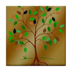 Tree Root Leaves Contour Outlines Tile Coasters