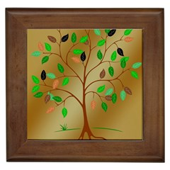 Tree Root Leaves Contour Outlines Framed Tiles