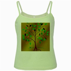 Tree Root Leaves Contour Outlines Green Spaghetti Tank