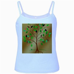 Tree Root Leaves Contour Outlines Baby Blue Spaghetti Tank