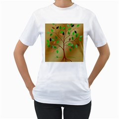 Tree Root Leaves Contour Outlines Women s T-Shirt (White) (Two Sided)