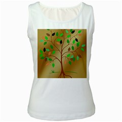 Tree Root Leaves Contour Outlines Women s White Tank Top