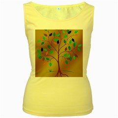 Tree Root Leaves Contour Outlines Women s Yellow Tank Top