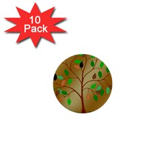 Tree Root Leaves Contour Outlines 1  Mini Buttons (10 Pack)