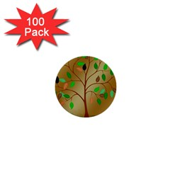 Tree Root Leaves Contour Outlines 1  Mini Buttons (100 Pack)