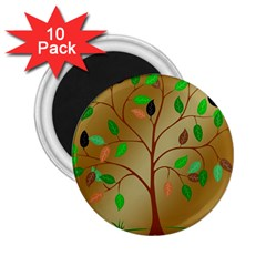 Tree Root Leaves Contour Outlines 2 25  Magnets (10 Pack)