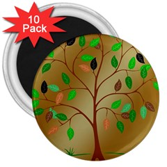 Tree Root Leaves Contour Outlines 3  Magnets (10 pack)