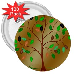 Tree Root Leaves Contour Outlines 3  Buttons (100 Pack)