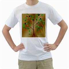 Tree Root Leaves Contour Outlines Men s T-Shirt (White) (Two Sided)