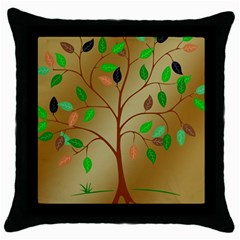 Tree Root Leaves Contour Outlines Throw Pillow Case (Black)