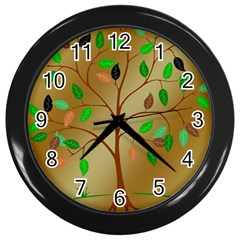 Tree Root Leaves Contour Outlines Wall Clocks (Black)