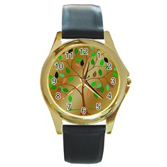 Tree Root Leaves Contour Outlines Round Gold Metal Watch
