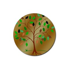 Tree Root Leaves Contour Outlines Rubber Round Coaster (4 pack)