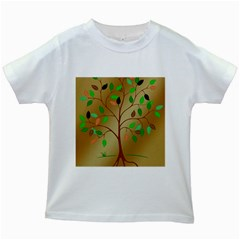 Tree Root Leaves Contour Outlines Kids White T Shirts