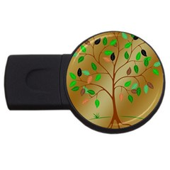 Tree Root Leaves Contour Outlines USB Flash Drive Round (1 GB)