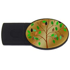 Tree Root Leaves Contour Outlines USB Flash Drive Oval (1 GB)