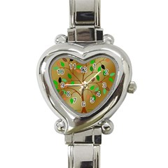 Tree Root Leaves Contour Outlines Heart Italian Charm Watch