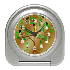 Tree Root Leaves Contour Outlines Travel Alarm Clocks