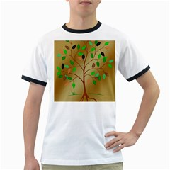 Tree Root Leaves Contour Outlines Ringer T Shirts