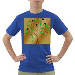 Tree Root Leaves Contour Outlines Dark T-Shirt