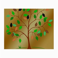 Tree Root Leaves Contour Outlines Small Glasses Cloth