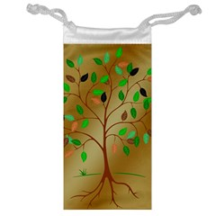 Tree Root Leaves Contour Outlines Jewelry Bag