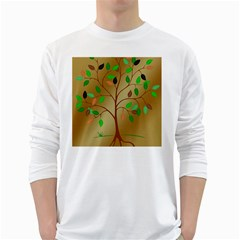 Tree Root Leaves Contour Outlines White Long Sleeve T Shirts