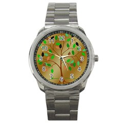 Tree Root Leaves Contour Outlines Sport Metal Watch