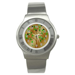 Tree Root Leaves Contour Outlines Stainless Steel Watch