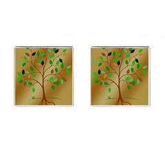 Tree Root Leaves Contour Outlines Cufflinks (Square)
