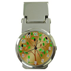 Tree Root Leaves Contour Outlines Money Clip Watches