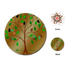Tree Root Leaves Contour Outlines Playing Cards (round)