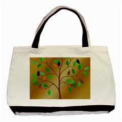 Tree Root Leaves Contour Outlines Basic Tote Bag