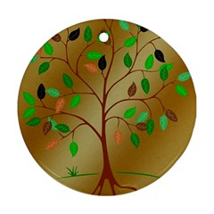 Tree Root Leaves Contour Outlines Round Ornament (Two Sides)