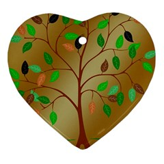 Tree Root Leaves Contour Outlines Heart Ornament (two Sides)