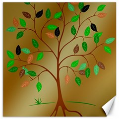 Tree Root Leaves Contour Outlines Canvas 12  x 12
